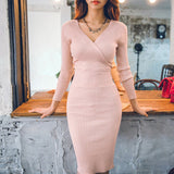 Fit 45-70KG Autumn Winter Women Knitted Cotton Skinny Sweater Dress V-neck Slim Bodycon
