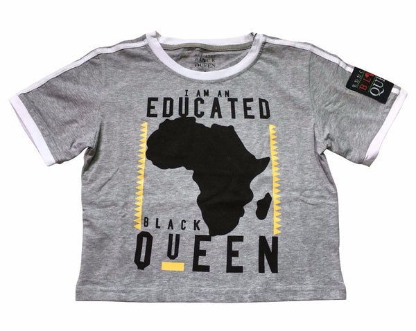 I AM AN EDUCATED BLACK QUEEN® Crop Grey Shirt