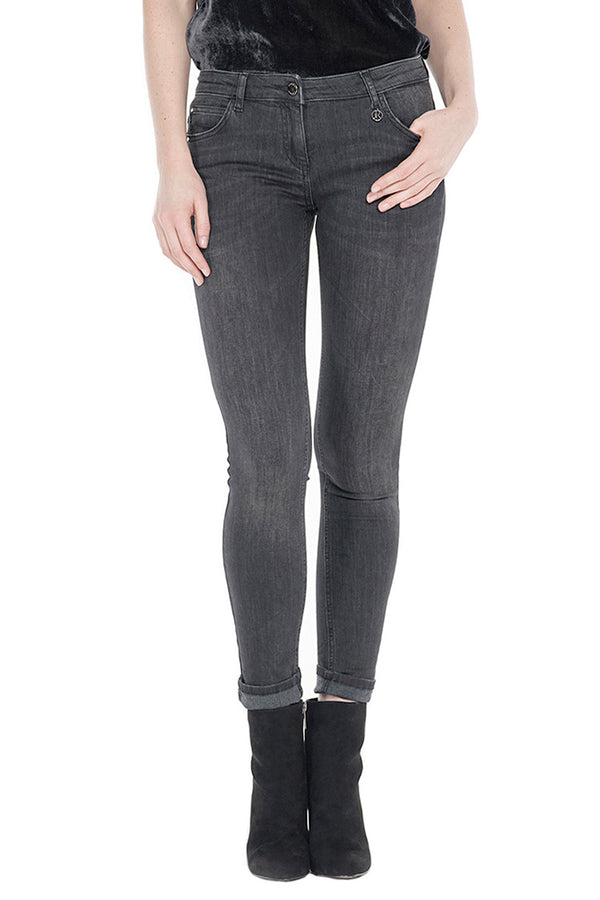 Jeans push-up  in denim black 1 bottone  GINGER