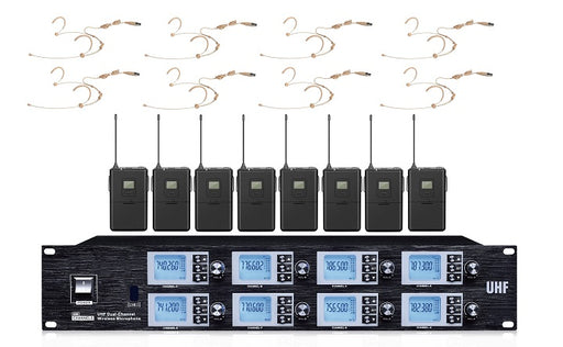 Wireless Microphone UHF 8 Way 8 x Body packs with head sets