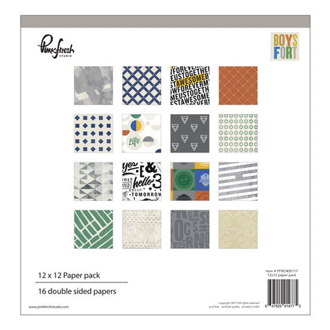 12x12 Paper Pack - Pinkfresh Studio - Boys Fort