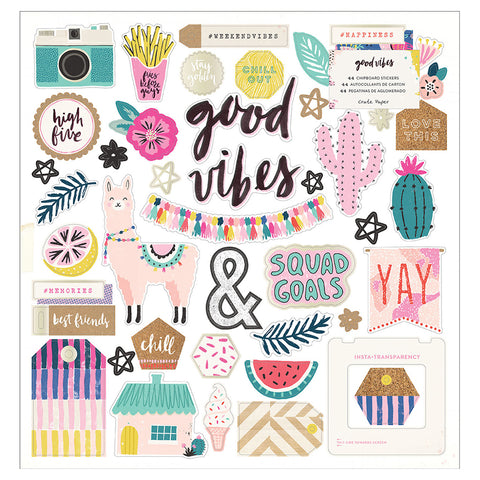 Chipboard Stickers - Crate Paper - Good Vibes