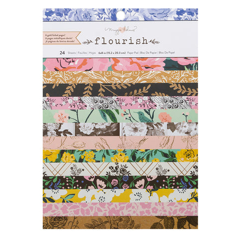 6x8 Card Making Gold Foil Paper Pad - Maggie Holmes - Flourish