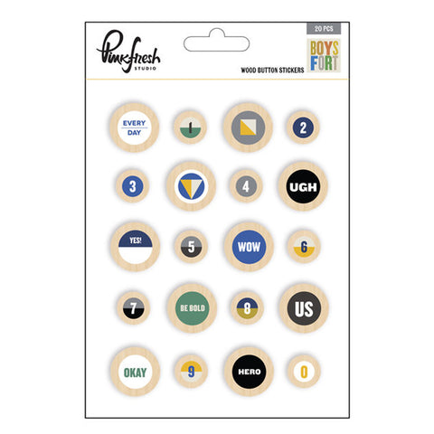Wood Button Stickers - Pinkfresh Studio - Boys Fort