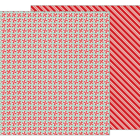 Peppermints 12x12 Pattern Paper - Pebbles - Merry Merry