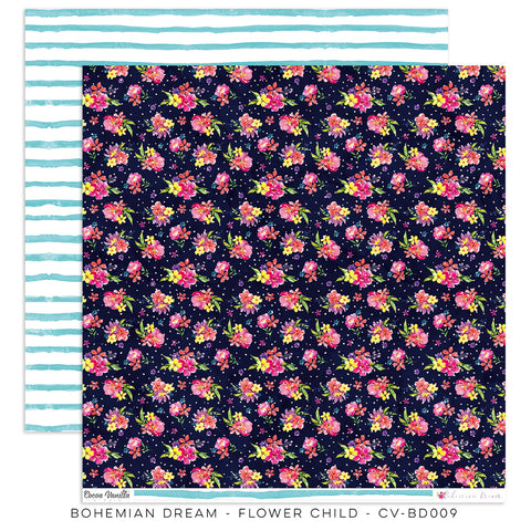 Flower Child 12x12 Pattern Paper - Cocoa Vanilla - Bohemian Dream