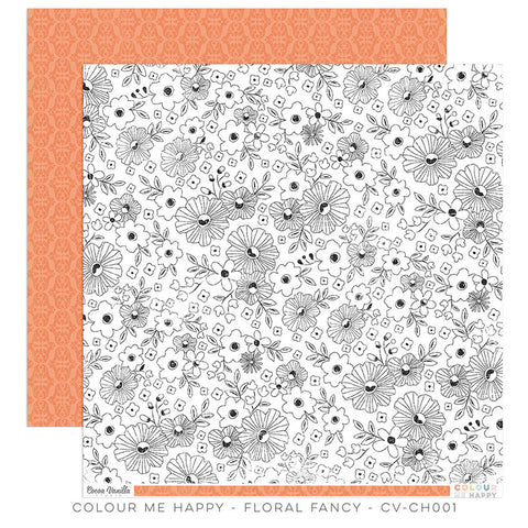 Floral Fancy 12x12 paper - Cocoa Vanilla Colour Me Happy
