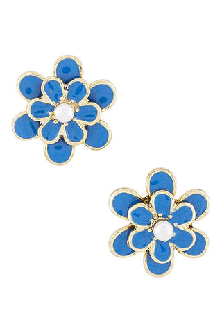 Blue & Gold Floral Stud Earrings