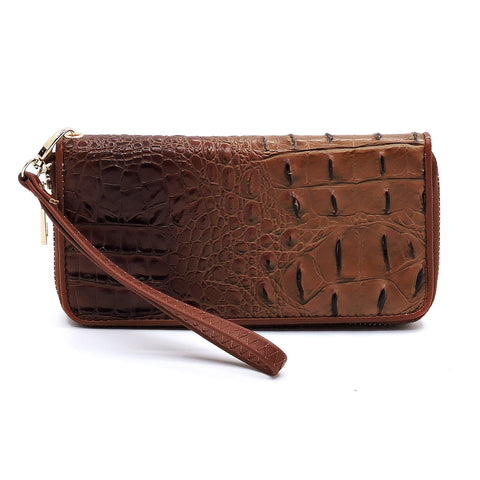 Coffee Crocodile Zipped Wallet