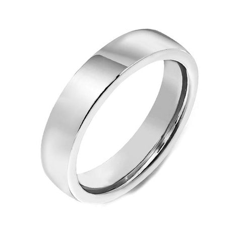 18ct White Gold 4mm Flat Court Shape Wedding Ring