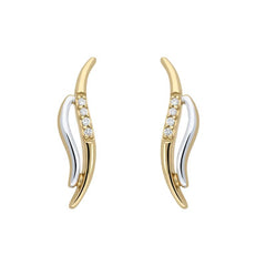 18ct White and Yellow Gold Diamond Wave Stud Earrings