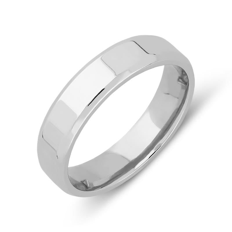 Platinum 4mm Bevelled Edge Wedding Ring