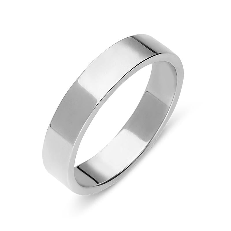 Platinum 4mm Flat Court Shape Wedding Ring