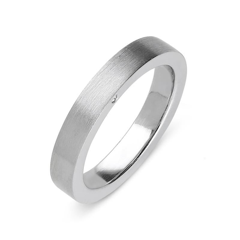 Platinum Diamond 4mm Brushed Wedding Ring