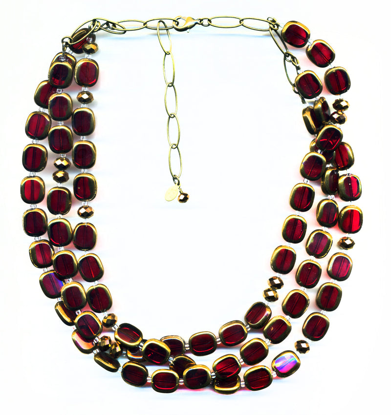 Stained Glass 3-Strand Necklace