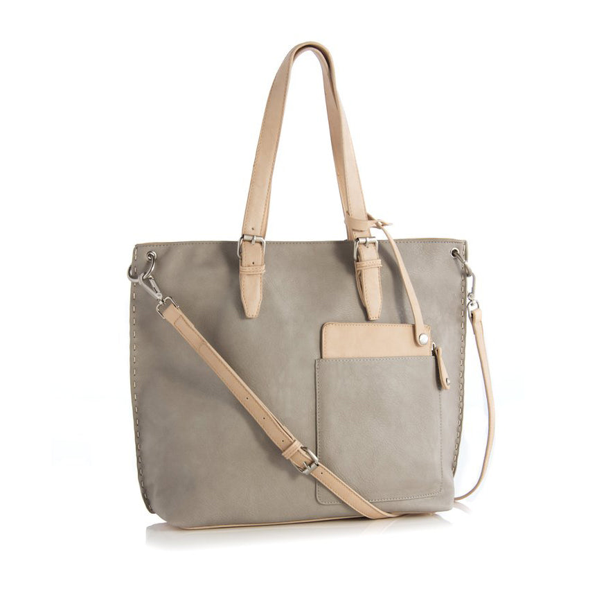 Two-Tone Tote with Handles and Adjustable Crossbody Strap