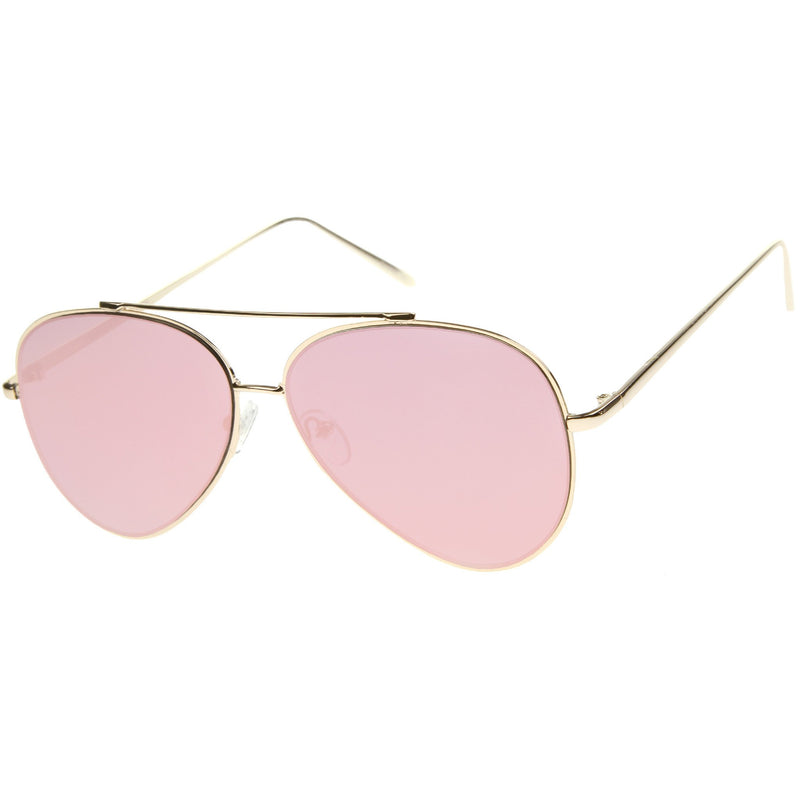 Retro Modern Mirrored Flat Lens Metal Aviator Sunglasses A318
