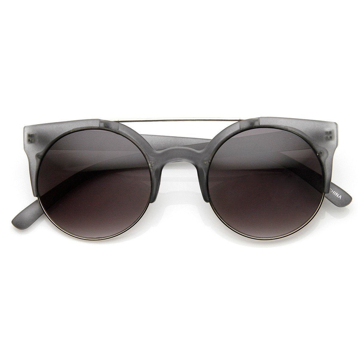 Designer Retro Circle Super Half Frame Flat Bar Sunglasses 8525