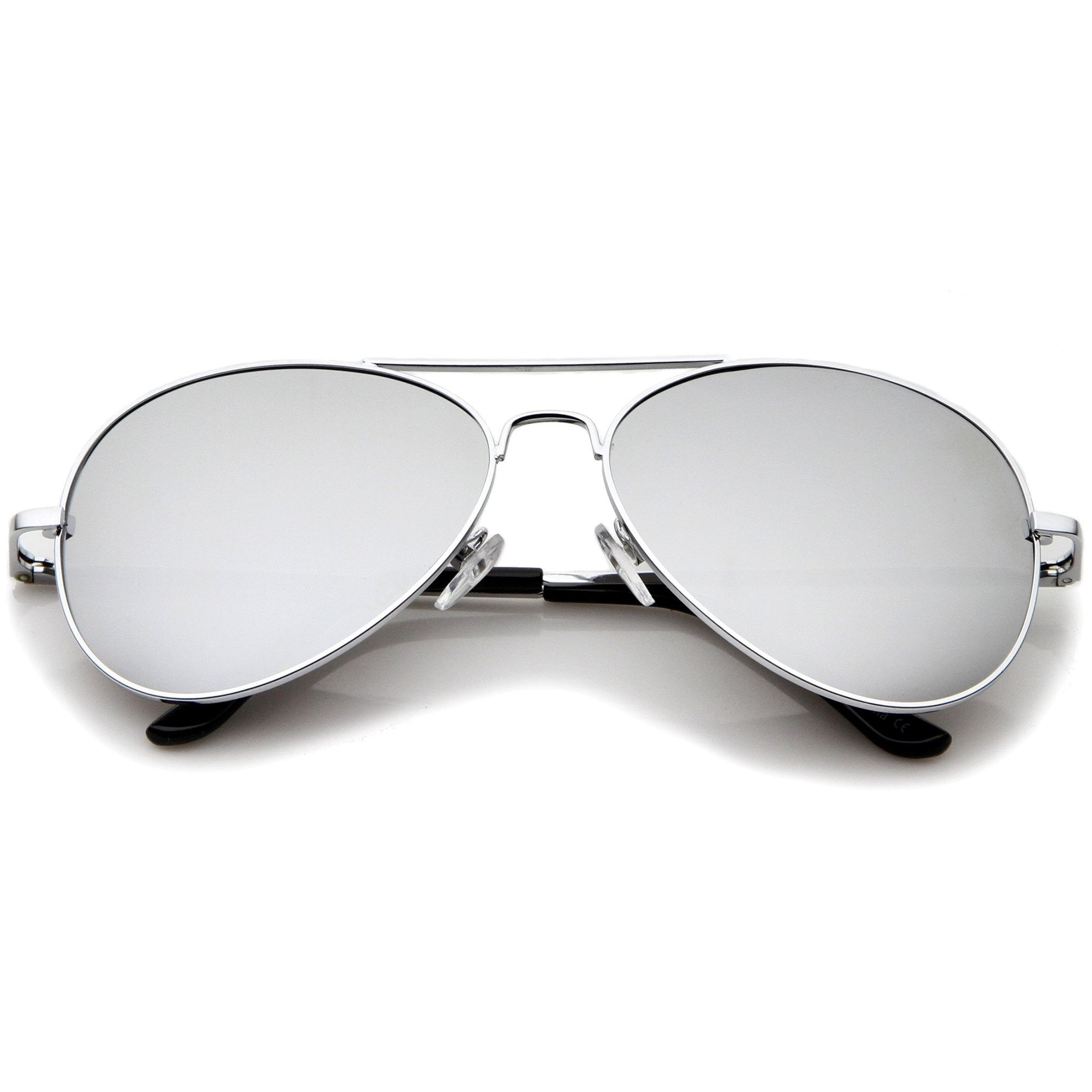 Premium Military Mirrored Lens Metal Aviator Sunglasses 1375 58mm