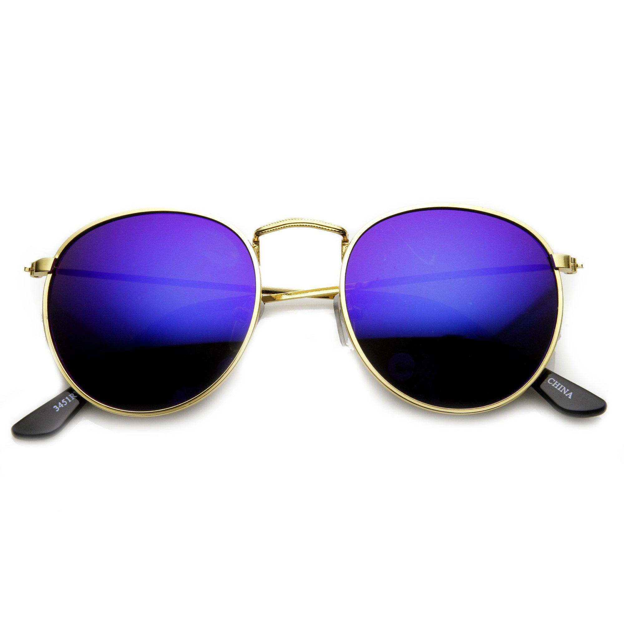 Retro P3 Round Flash Color Mirror Lens Metal Sunglasses 9208