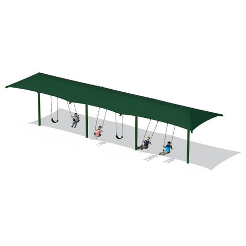 "5"" SINGLE POST SWING FRAME WITH SHADE(8') - 3 BAY"