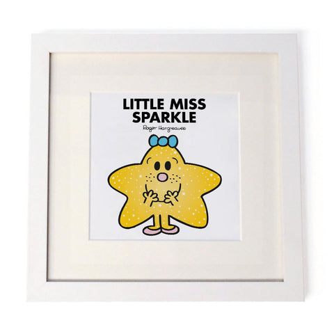 Little Miss Sparkle White Framed Print