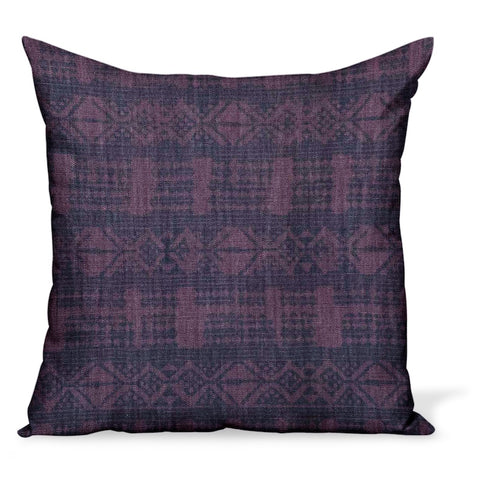 Cushion or pillow made from Peter Dunham Textiles linen Addis print in purple and bluet, a tribal design