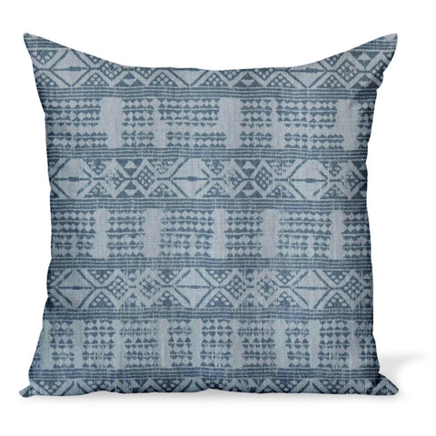 Addis in blue-blue, a linen print by Peter Dunham Textiles, creates this cushion or decorative pillow