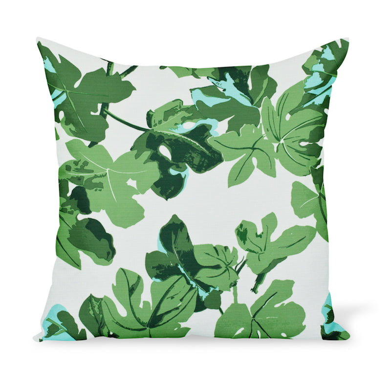 Peter Dunham Textiles iconic fig leaf print as an outdoor fabric! Available as a pillow or cushion in multiple sizes