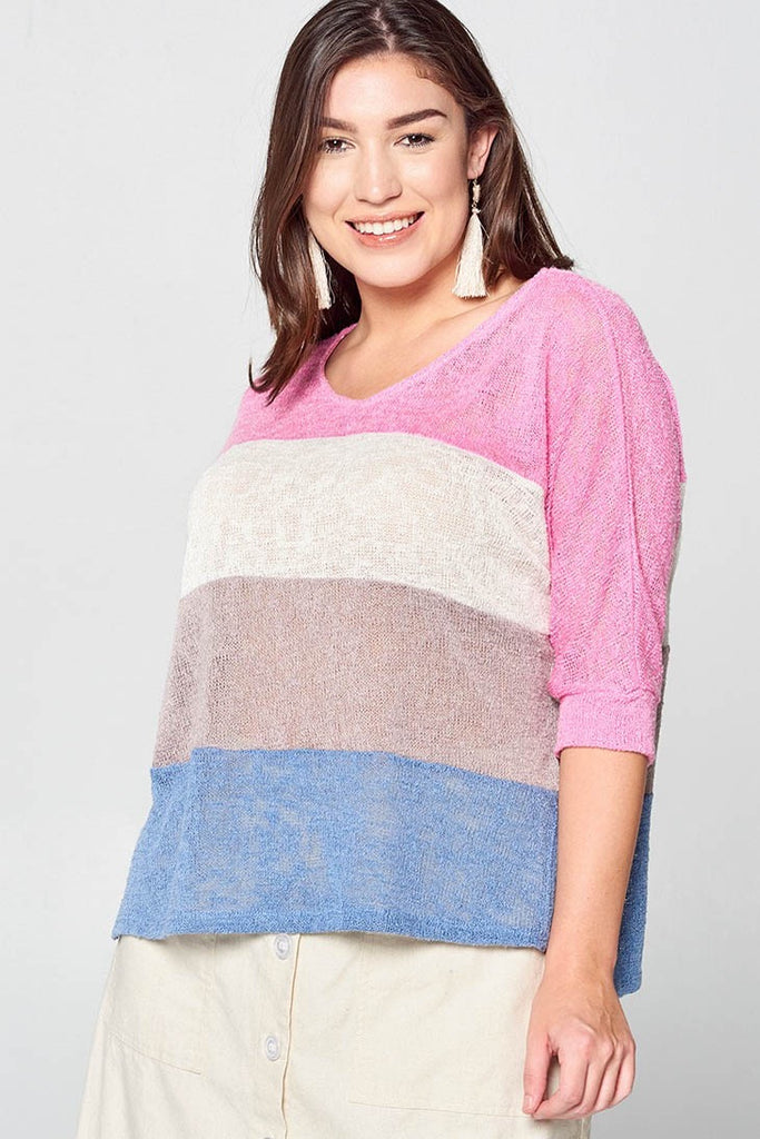 Plus Size Striped Sweater - Online Clothing Boutique