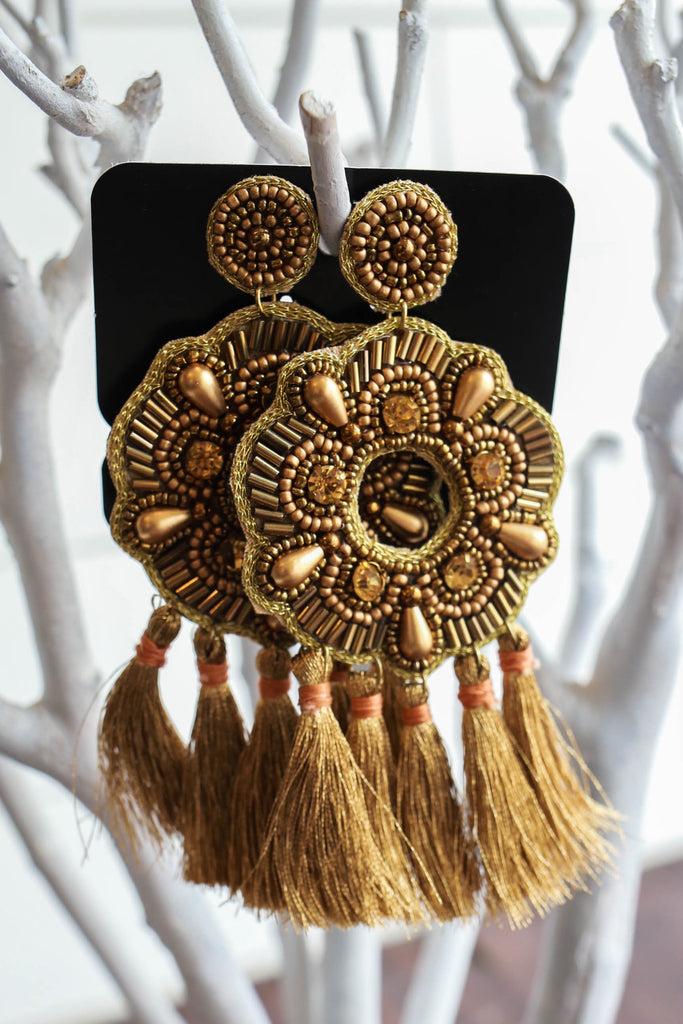Oversized Tassel Earrings - Online Clothing Boutique