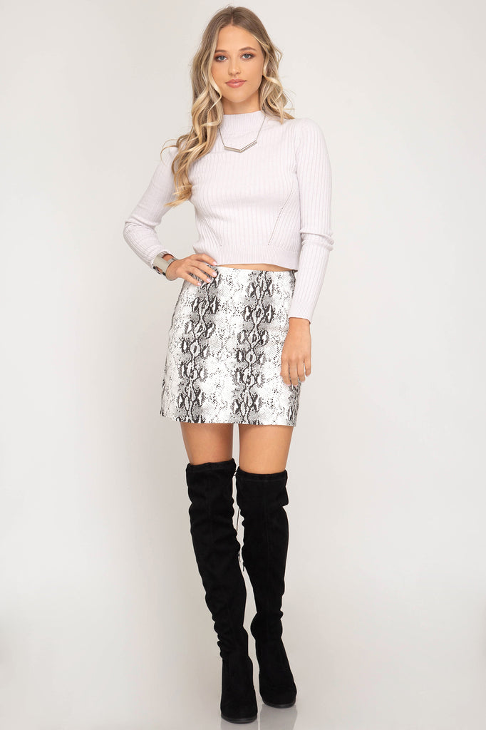 White Snakeskin Mini Skirt - Online Clothing Boutique