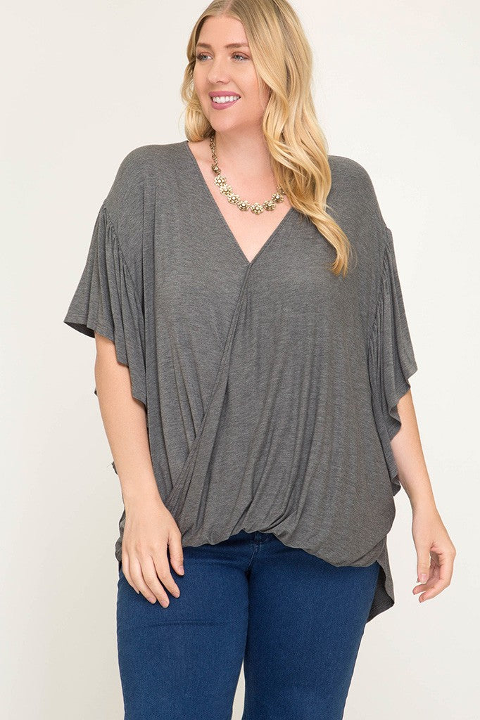 Plus Size Surplice Top - Online Clothing Boutique