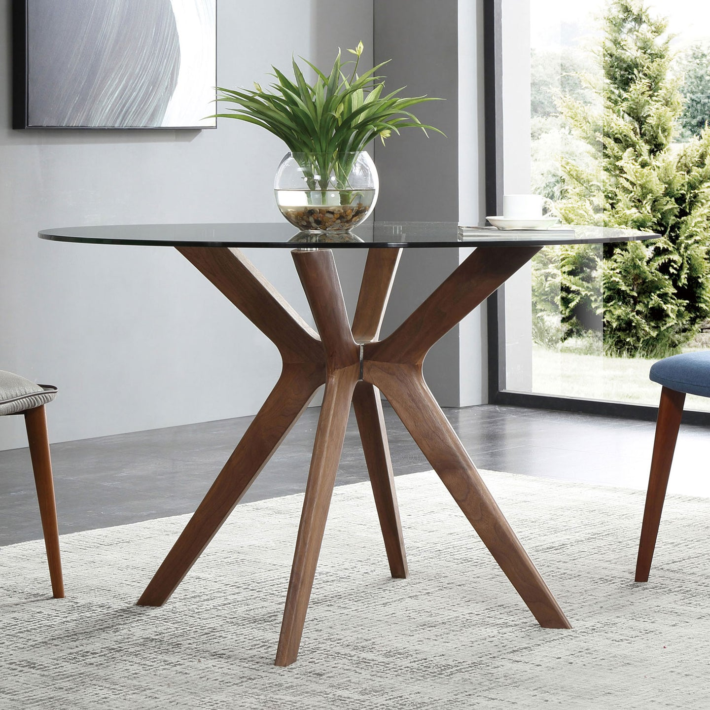 Branch - Round Glass Table with Wood Legs