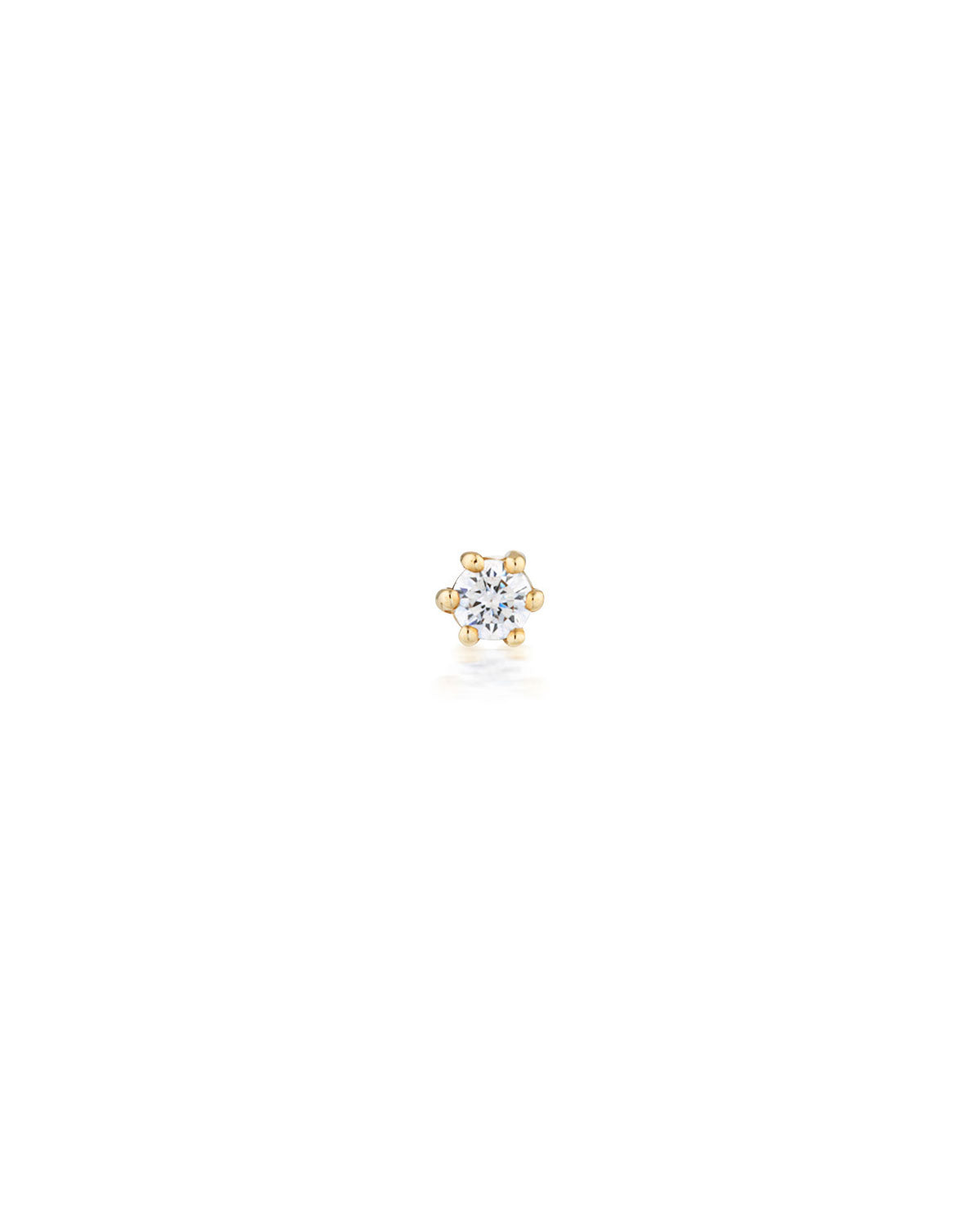 (Single) Crystal Droplet Stud Earring Gold