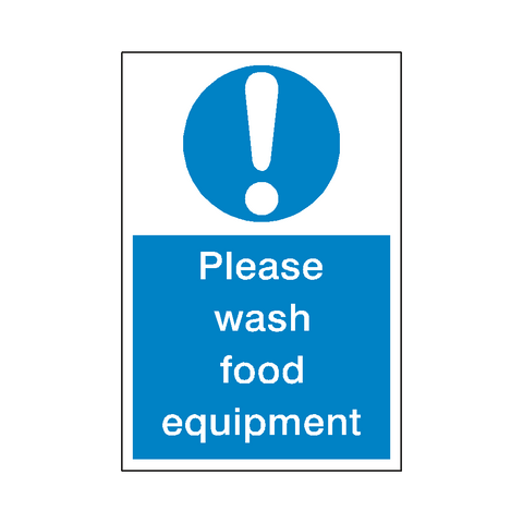Please Wash Food Equipment Sticker - Safety-Label.co.uk