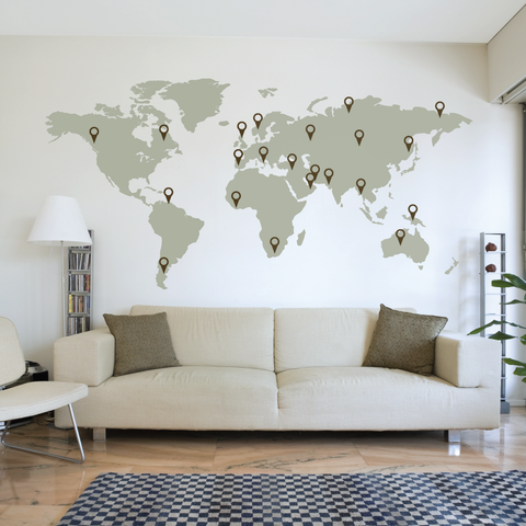 Large World Map Wall Decal