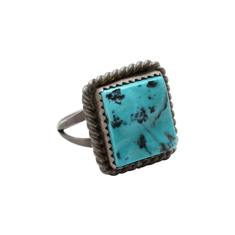 Vintage Native American Jewelry Silver / US 8 Cactus Turquoise Native American Ring