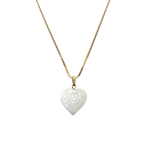 Goddess Jewelry Gold Pearl Heart Necklace