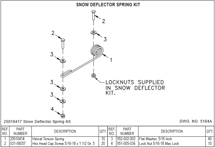 Snow Deflector Spring Kit for Rubber Snow Deflectors