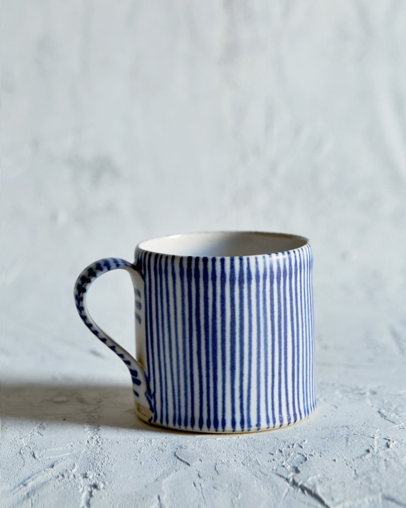 Sue Binns Striped Coffee Cup - Thin White, Thin Blue