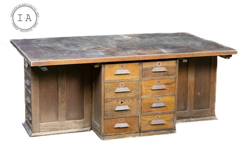 Antique Industrial Laboratory Desk Kitchen Island