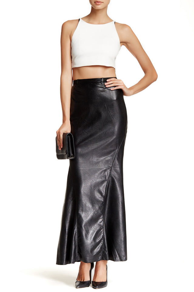 VEGAN LEATHER MAXI SKIRT