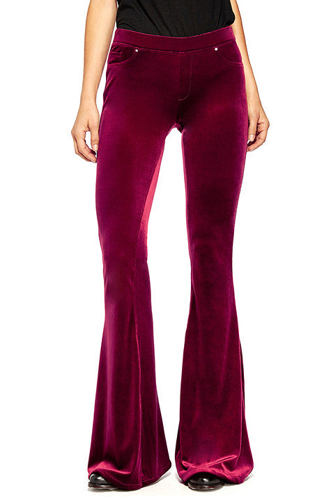VELVET BELLBOTTOM PANTS IN MAGENTA