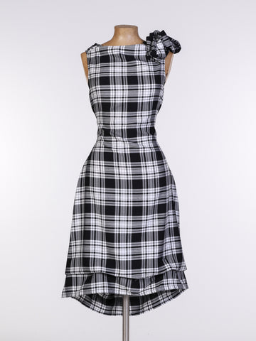 Black and White Tartan Anna Dress