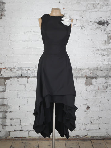 Black and Ivory Appliqué Wendy Dress