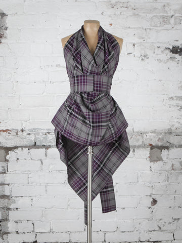 Grey and Purple Tartan Alice Maxi Top