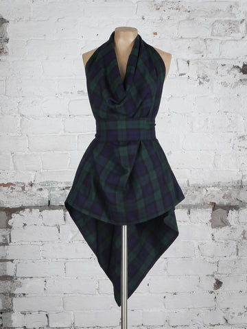 Navy and Green Tartan Alice Maxi Top