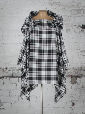 Black and White Tartan Wolf Cape
