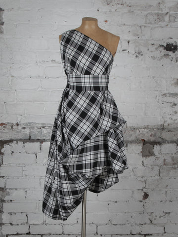 Black and White Tartan Drew Dress